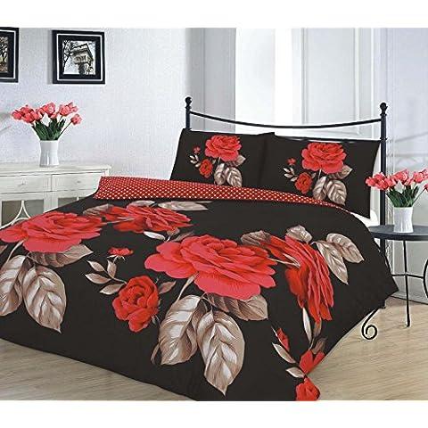 NEW Polycotton floreale a pieghe 167,6x 182,9cm paio di tende completamente foderate con fermatenda Isabella Black Red