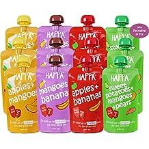 Happa Organic Baby Food, Fruit Puree (Apple +Mango, Mango+Banana, Apple+Banana, SWT. Potato+Mango+Pear) - 12 Pcs