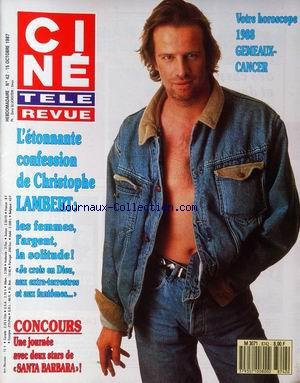 CINE TELE REVUE [No 42] du 15/10/1987 - L'ETONNANTE CONFESSION DE CHRISTOPHE LAMBERT - SANTA BARBARA