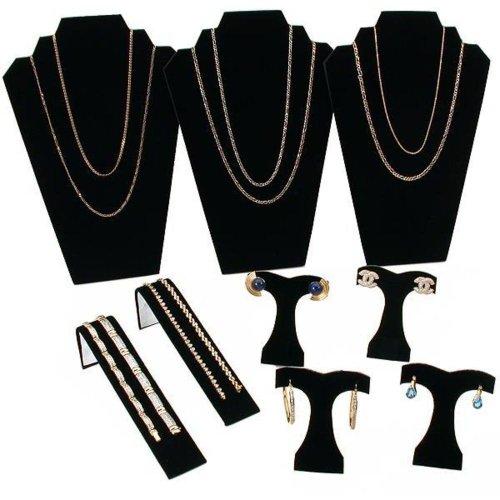 Findingking Nero Floccato collana e orecchini Gioielli Display Set di 9pezzi - Floccato Collana