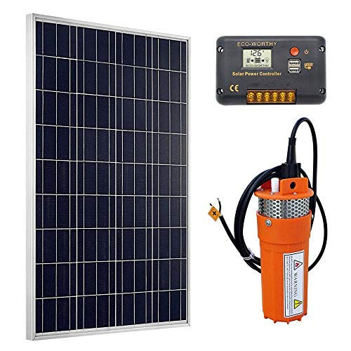 DC HOUSE Solar Deep Well Water Pump: 100W Solar Panel with 12V Deep Well Water Pump & 20A Charge Controller for Home Irrigation Ranch Farm - Barbed Port