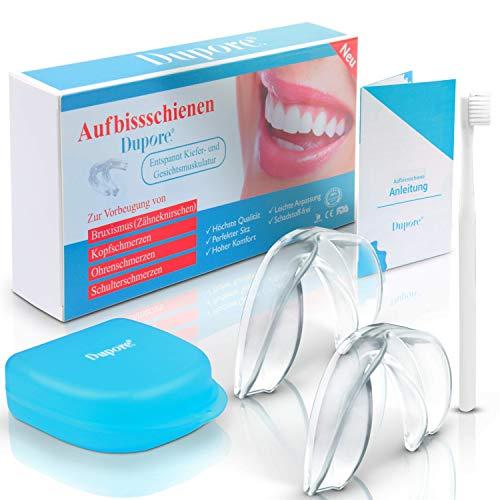 Dupore.® Aufbissschienen Set (2 Stk) - Für ein Leben ohne Zähneknirschen - Zertifizierte Zahnschienen + GRATIS EBOOK, Aufbewahrungsbox und Zahnbürste + Zufriedenheitsgarantie