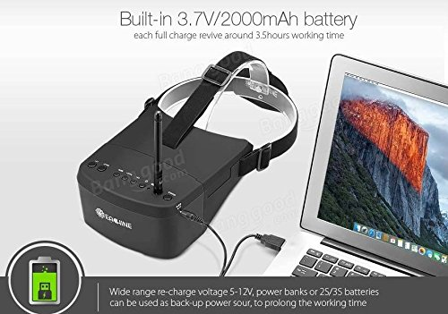 EACHINE EV800 FPV Brille 5 Inch 800x480 FPV Goggles 5.8G 40CH Raceband Auto-Suche Eingebaute Batterie für Quadrocopter - 6