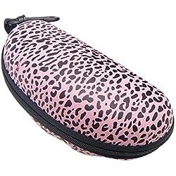 Cdet Funda para gafas contiene gafas de sol caja leopardo con cadena colgante EVA compresión cremallera caja Rosado