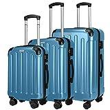 Amasava Koffer Handgepäck Hartschalen 4 Rollen Koffer Set Trolley mit TSA Zahlenschloss Reisekoffer Set ABS + PC Hartschale 3-teiliges Set Rollkoffer Gepäck Set (55 cm+66 cm+76 cm) (Set, Hellblau)