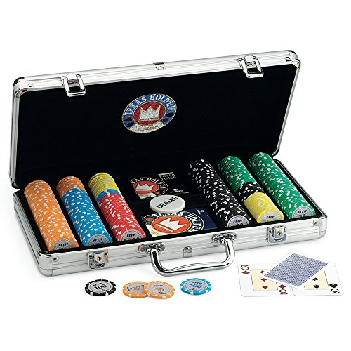Juego Pro Team - Texas Hold'em Pokerkoffer I Poker Chip Koffer I Poker Set I Inkl. Pokerkarten, Dealer, Timer und 300 Poker Chips - Aluminium (Poker Chips Werte)