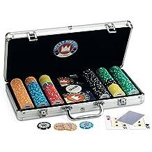 Juego Pro Team 300 - Maletín de poker I Poker Set I Juego de poker incluye cartas de poker texas hold'em, 300 fichas, Dealer y Timer - Aluminio
