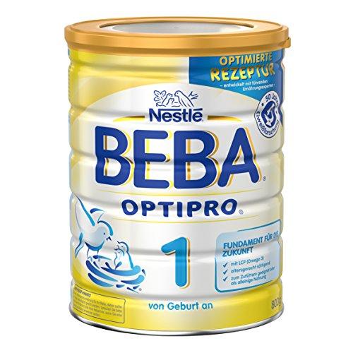 Nestlé BEBA Optipro 1 Anfangsmilch von Geburt an, Pulver, wiederverschließbar mit praktischer Löffelablage, 6er Pack (6 x 800 g)