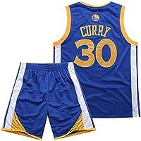 BUY-TO Warriors 30 Curry Jersey Pantalones Cortos de la NBA Traje de Uniforme de Baloncesto,Blue,S