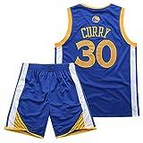 BUY-TO Maillot Warriors 30 Curry Short NBA Uniforme de Basket-Ball,Blue,S...