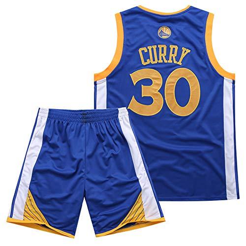 BUY-TO Warriors 30 Curry Jersey Pantalones Cortos de la NBA Traje de Uniforme de Baloncesto,Blue,M