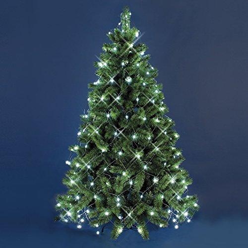Manto de luces árbol de Navidad 3,8 x h. 2 m, 195 LED luz fría, cableado verde, adornos árbol, luces árbol de Navidad
