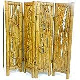 Separè étnico artesanal de madera teca maciza con relieve Bambú