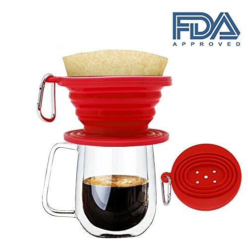 JSS Silikon klappbar kaffee Filter Membran, Lebensmittelqualität Kaffee Tropfer, perfekt für draußen und unterwegs mit gratis Haken Einheitsgröße rot