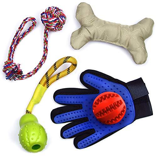 Giocattoli per cani PETSFRIENDS. Giochi per cani masticabili, per l'attivazione mentale del cane. Con guanto togli peli e zaino porta giochi.
