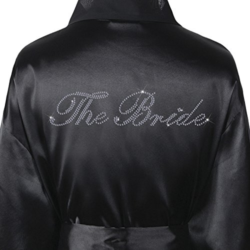 - 51OJaFBJ0dL - Varsany Wedding Day Rhinestone Satin The Bride Bathrobe Personalised Diamante Dressing gown Kimono