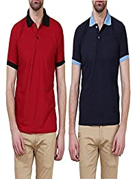 X-CROSS Maroon & Navy Blue Color Pack Of 2 Men's Polo T-Shirt With Collar - Slim Fit Cotton Polo T-shirt For Men...