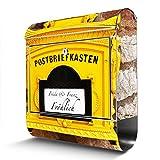 BANJADO Edelstahl Briefkasten mit Zeitungsfach | Design Motivbriefkasten | Briefkasten 38x43x12cm groß | Postkasten mit Montagematerial | 3 Schlüssel Motiv WT historischer Postkasten