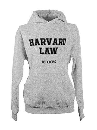 Harvard Law Just Kidding School University Student Divertente Donna Felpa con cappuccio Grigio Medium