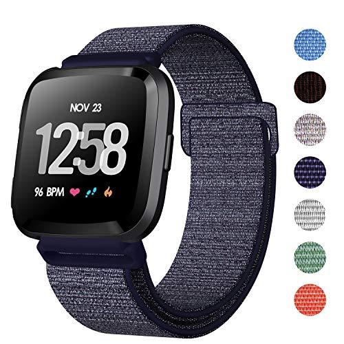 XIMU kompatibel mit Fitbit Versa Armband & Versa Lite Armband, Verstellbarer Riemen Sportriemen Nylongurt Handschlaufe Armband Ersatz Zubehör kompatible Frauen Männer (Dunkelblau)