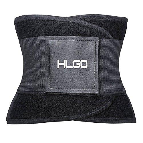 HLGO Waist Trimmer Faja Reductora Deportiva de Neopreno para Hombres y Mujeres Soporte para el Área Lumbar Espalda Abdomen Negro, XL
