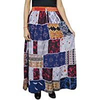 Mogul Interior Women A-Line Skirt Patchwork Colorful Rayon Gypsy Fashion Flare Skirts S/M