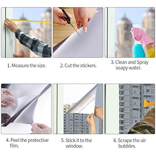51OJbGcAm0L - Essort Vinilo para Ventana Privacidad Pegatina Cristal 60x400cm Protector de Electricida Estática, Sola Lámina Privacidad de Una Manera Espejo Película Adhesiva (Plata)