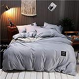 YAHAO Seidenbettwäsche Set 4 Teilig, Bettbezug Kissenbezug, Hypoallergen Maulbeerseide Bettwäsche, Ultra Weich Und Glatt,Grey-220 * 240cm