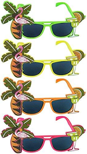 ulooie 6pcs Creative Party Neuheit Sonnenbrille Tropical Hawaii Coconut Flamingo Party (zufällige Farbe)