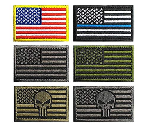 INJOYS USA Drapeau Patch, American Flag Patch Crochet Loop, brodée Punisher Patches Militaire Tactique Moral Patches (Lot de 6)
