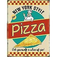 Pizza retro Diner style targa placca metallo