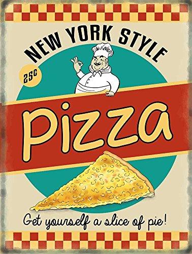 Pizza retro Diner style Cartel de Chapa Placa metal Estable plano Nuev