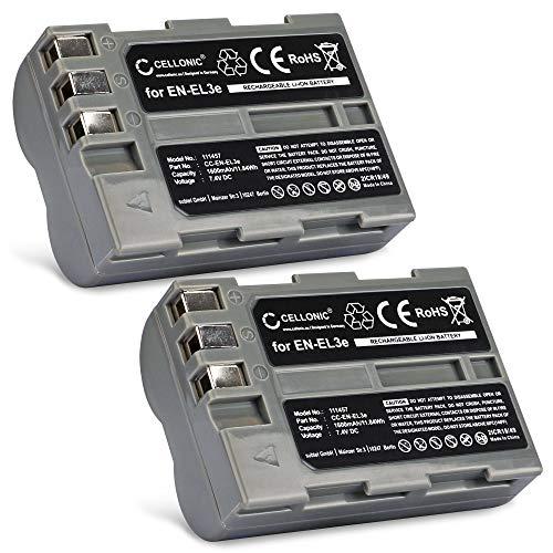 Cellonic 2X Qualitäts Akku kompatibel mit Nikon D50 Nikon D70s Nikon D80 D90 D200 D300 D300S (1600mAh) EN-EL3,EN-EL3e Ersatzakku Batterie