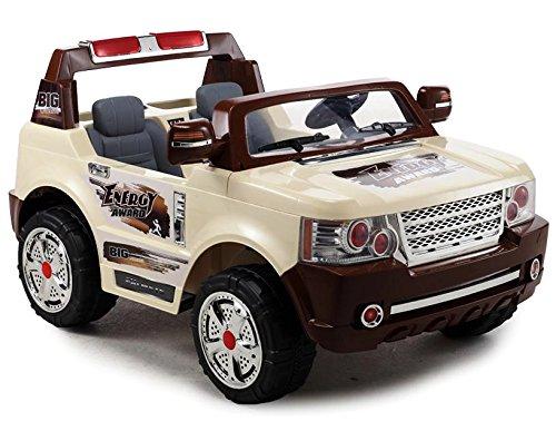 Elektro Kinderauto Elektrisch Ride On Kinderfahrzeug Elektroauto Fernbedienung - SUV LAND 2-Sitzer - Creme Farben