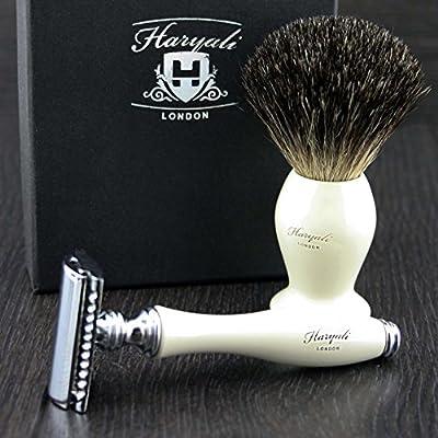 Ivory Double Edge Men's Shaving Razor with Badger Hair Shaving Brush. Perfect Two Piece Kit For Men's