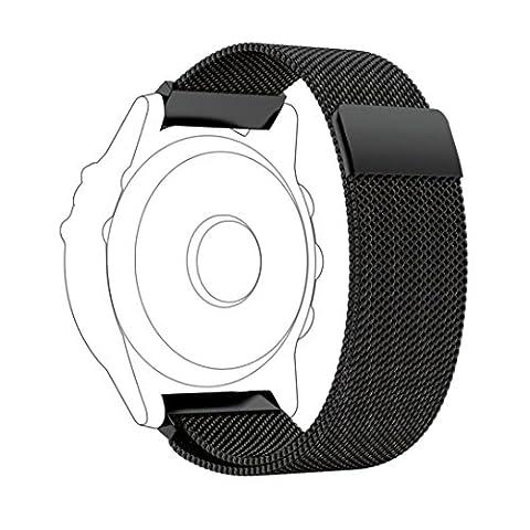 Ihee Milanaise Boucle magnétique réglable en acier inoxydable Watch Band Bracelet avec fermoir Interlock pour Garmin Fenix3 M noir