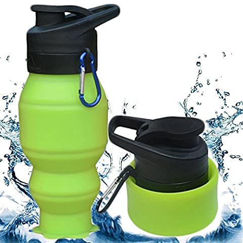 Foldable Water Bottle, 530ml CoolFoxx Food Grade Silicone BPA Free FDA Approved Non Toxic Leak Proof Sports Portable Collapsible Drinking Mug with Carabiner,Ideal for Gym Travel Camping Picnic Hiking Running