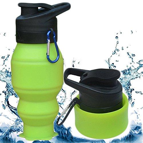 Faltbare Silikon-Flasche, 530ML CoolFoxx beweglicher + Leck-Beweis + Resuable + BPA frei + leicht + ungiftig + Nizza schauende Wasser-Schalen-Becher mit Karabiner, ideal für Turnhalle / im Freiensport / trave, beste Geschenke für Liebhaber oder Familien (grün)