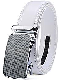 Cinturón de trinquete de los hombres Cinturones de vestir de cuero blanco aptos perfectos con hebilla automática ajustable BqZqcV