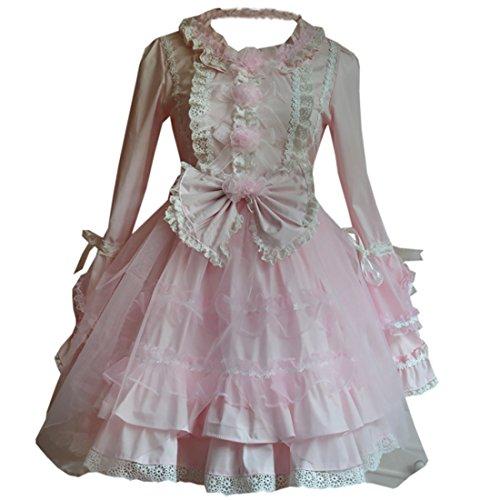 Partiss Damen Sweet Love Langarm Lace Lolita Kleider S Pink (Lace Brautkleid Victorian)
