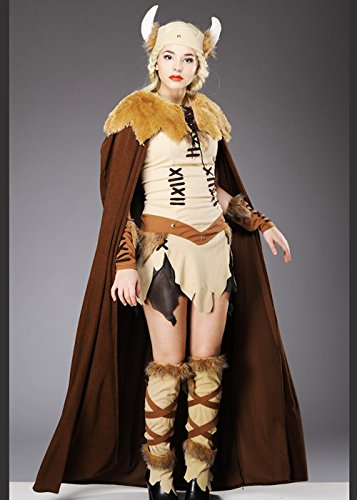 Viking Kostüm Womens Queen - Erwachsenen Damen Viking Princess Kostüm mit Cape