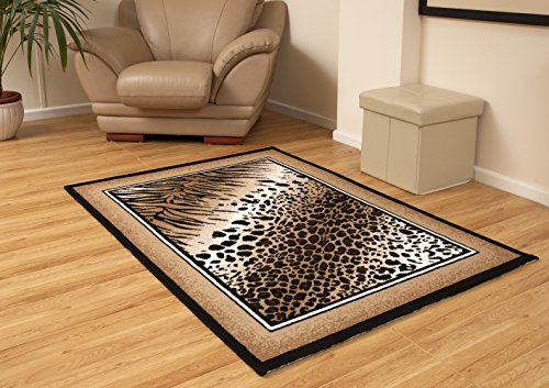 Aspect 115 x 160 cm relación de tamaño Grande SERENGETTI de diseño de Leopardo diseño de Piel de Leopardo Alfombra de Polipropileno