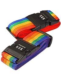 2 Pack Correa de Seguridad para Equipaje Cinturones de Maleta con Contraseña de Bloqueo del Clip, Raya del Arco Iris