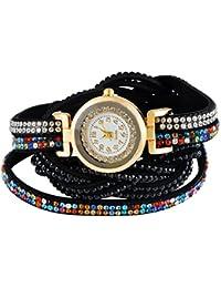 91262e84cd6bc4 MJARTORIA Damen Boho Strass Armbanduhr Elegant Klein Mode Damenuhr Analog  Quarz Uhr Schwarz