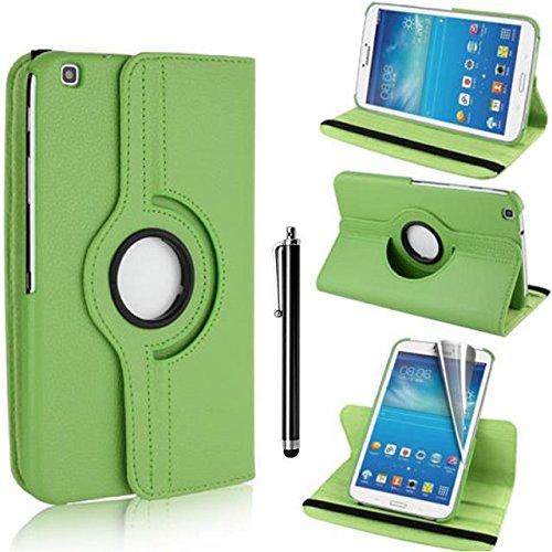 Samsung Galaxy Tab 3 8.0 Case - grün PU Leder Schutz Hülle 360° drehbar Case für Samsung Galaxy Tab 3 8.0 Zoll SM-T310 Lederhülle Tasche Flip Cover Etui Grün Schutzhülle mit Schwenkbar flexiblem Ständer + Displayschutzfolien und Stylus