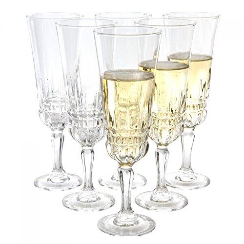 MamboCat Luminarc 6er Barock-Gläserset Imperator | 180 ml | königliches Sektglas auf hohem Fuß | Sekt-Kelche | geschliffenes Kristallglas