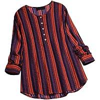 Yvelands Camisa Larga de los Tops del suéter de la Manga de la Raya del botón del O-Cuello de Las señoras de Las Mujeres de la liquidación