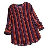 Yvelands Camisa Larga de los Tops del suéter de la Manga de la Raya del botón del O-Cuello de Las señoras de Las Mujeres de la liquidación (Vino,XL)