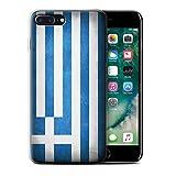 Stuff4 Coque Gel TPU de Coque pour Apple iPhone 7 Plus/Grèce/Grec Design/Drapeau Collection