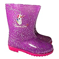 Unicorn Glitter Girls Wellington Rain Boots Purple